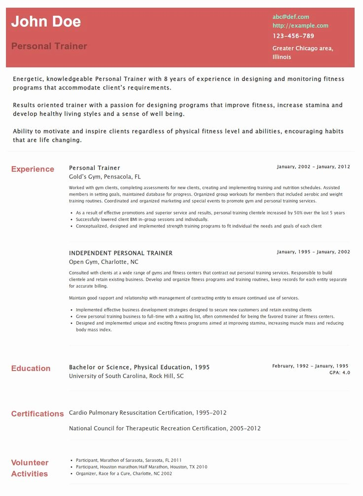 Personal Trainer Resume Template Awesome Personal Trainer Resume