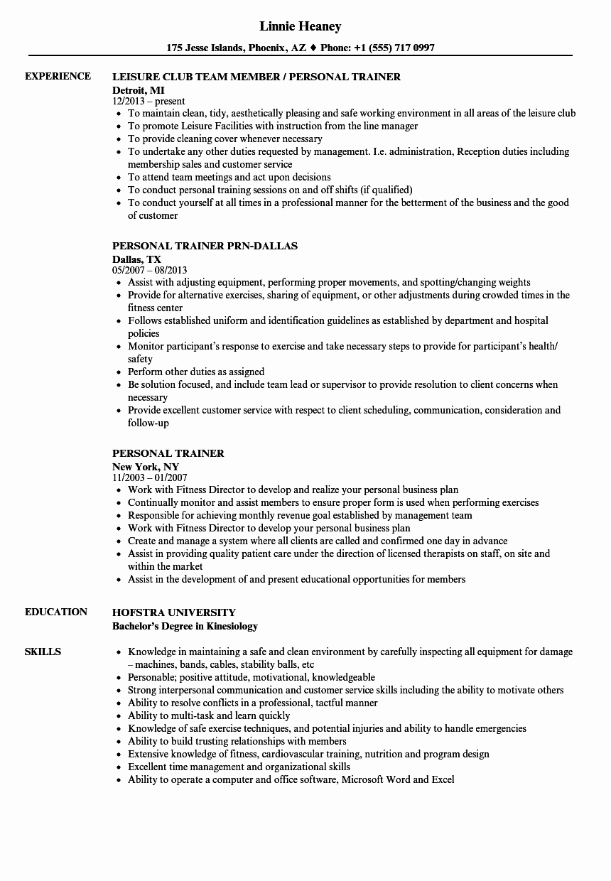 Personal Trainer Resume Template Awesome Personal Trainer Resume Samples