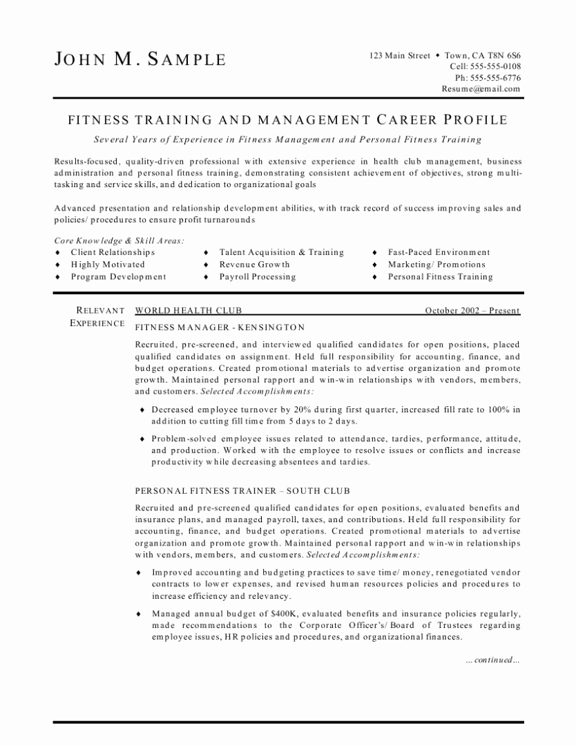 Personal Trainer Resume Template Beautiful Fitness Trainer and Manager Resume