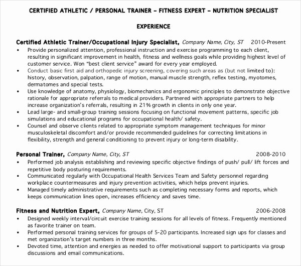 Personal Trainer Resume Template Inspirational 8 Personal Trainer Resume Templates Pdf Doc