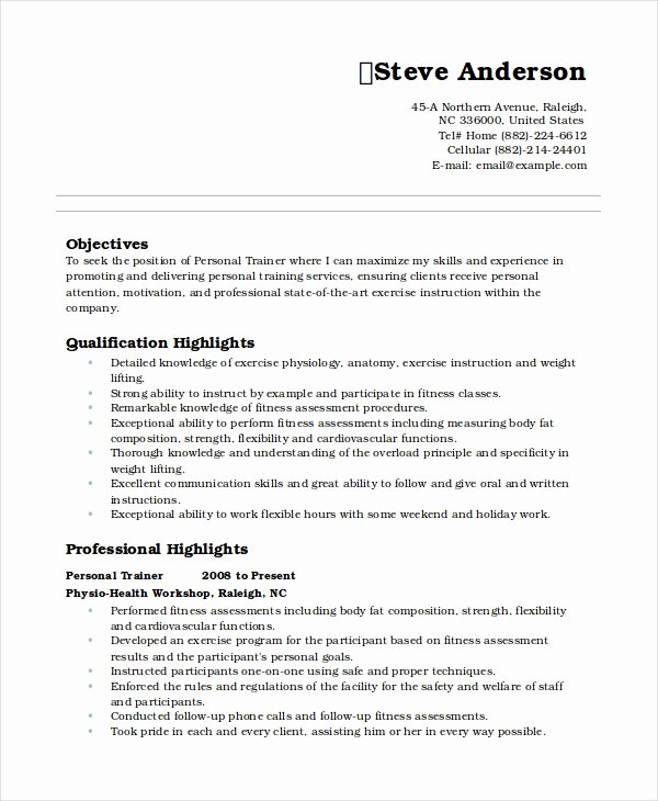 Personal Trainer Resume Template Inspirational Personal Resume Template 6 Free Word Pdf Document
