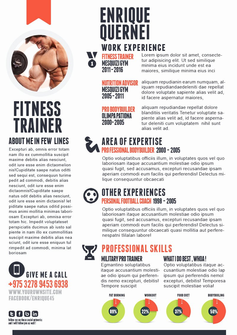 Personal Trainer Resume Template Lovely Fitness Trainer Resume Templates for Cv