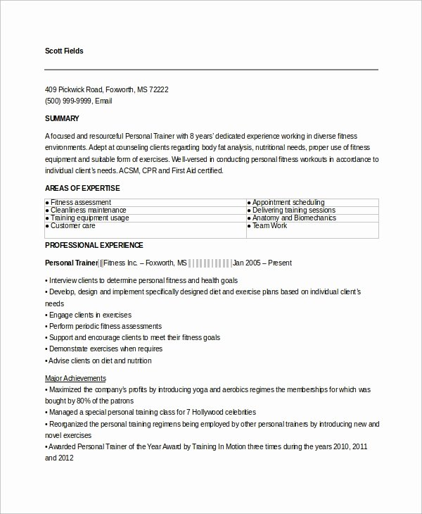 Personal Trainer Resume Template Unique 9 Sample Personal Trainer Resumes