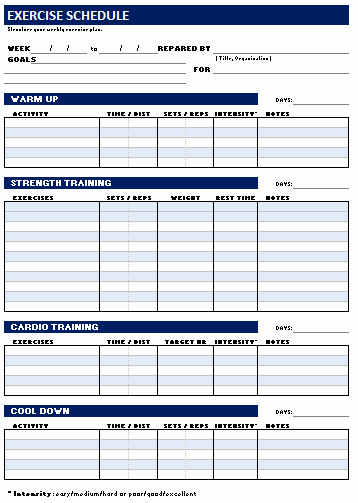 Personal Trainer Workout Plan Template Elegant Free Weekly Personal Workout and Exercise Schedule