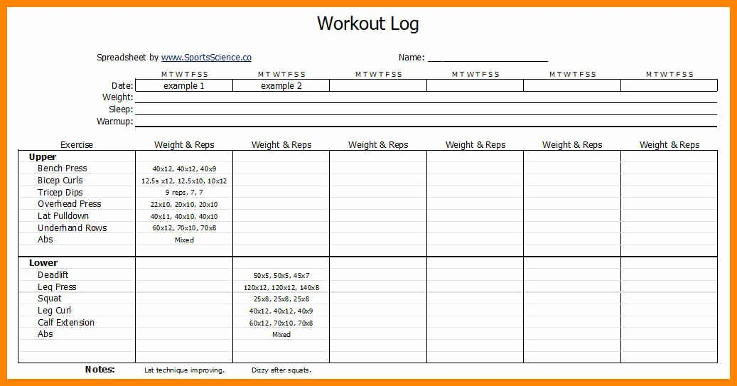 Personal Trainer Workout Plan Template Inspirational Workouts Log Templates Printable In Pdf Excel Template