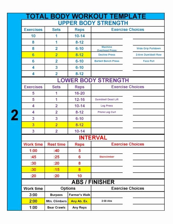 Personal Trainer Workout Plan Template Lovely 4 Practical Templates to Simplify Workout Design