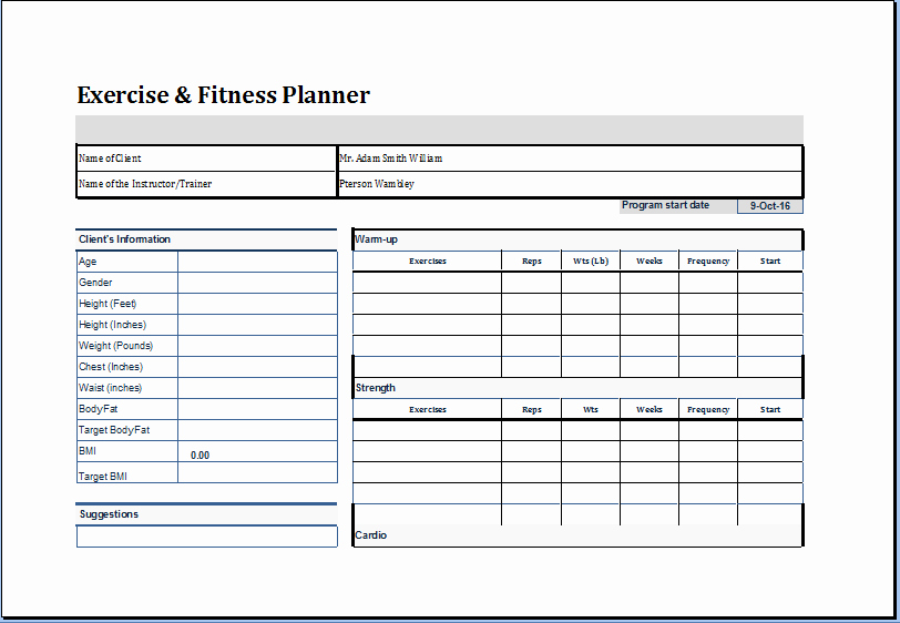 Personal Trainer Workout Plan Template Luxury Exercise and Fitness Planner Template at Worddox
