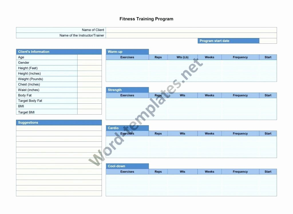 Personal Trainer Workout Plan Template Luxury Fitness Training Plan Template Free – Template Gbooks