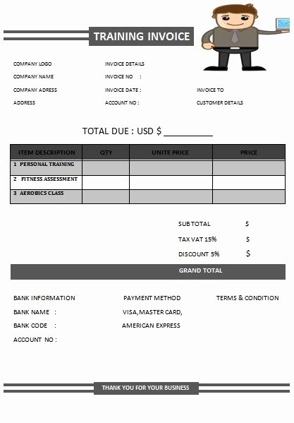 Personal Trainer Workout Template Beautiful 30 Personal Training Invoice Templates for Professionals