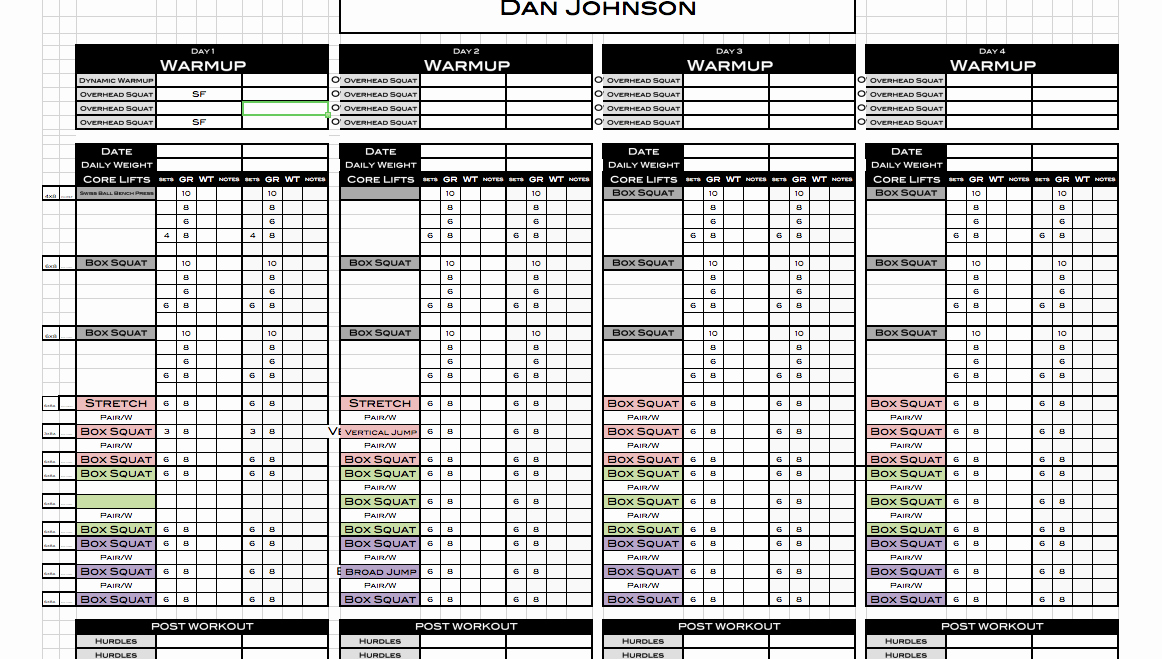 Personal Trainer Workout Template Beautiful Excel Personal Training Templates Excel Training Designs