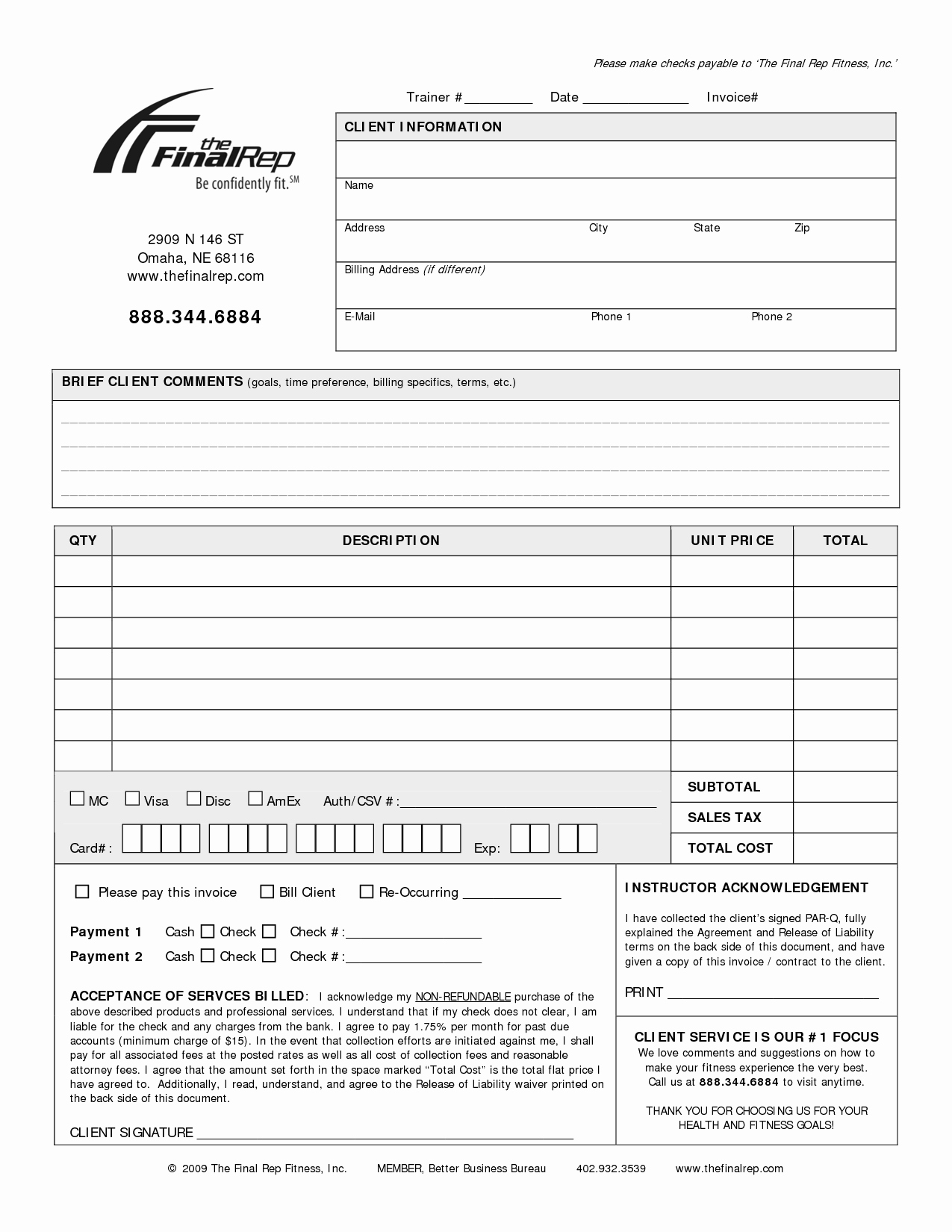 Personal Trainer Workout Template Beautiful Personal Invoice Template
