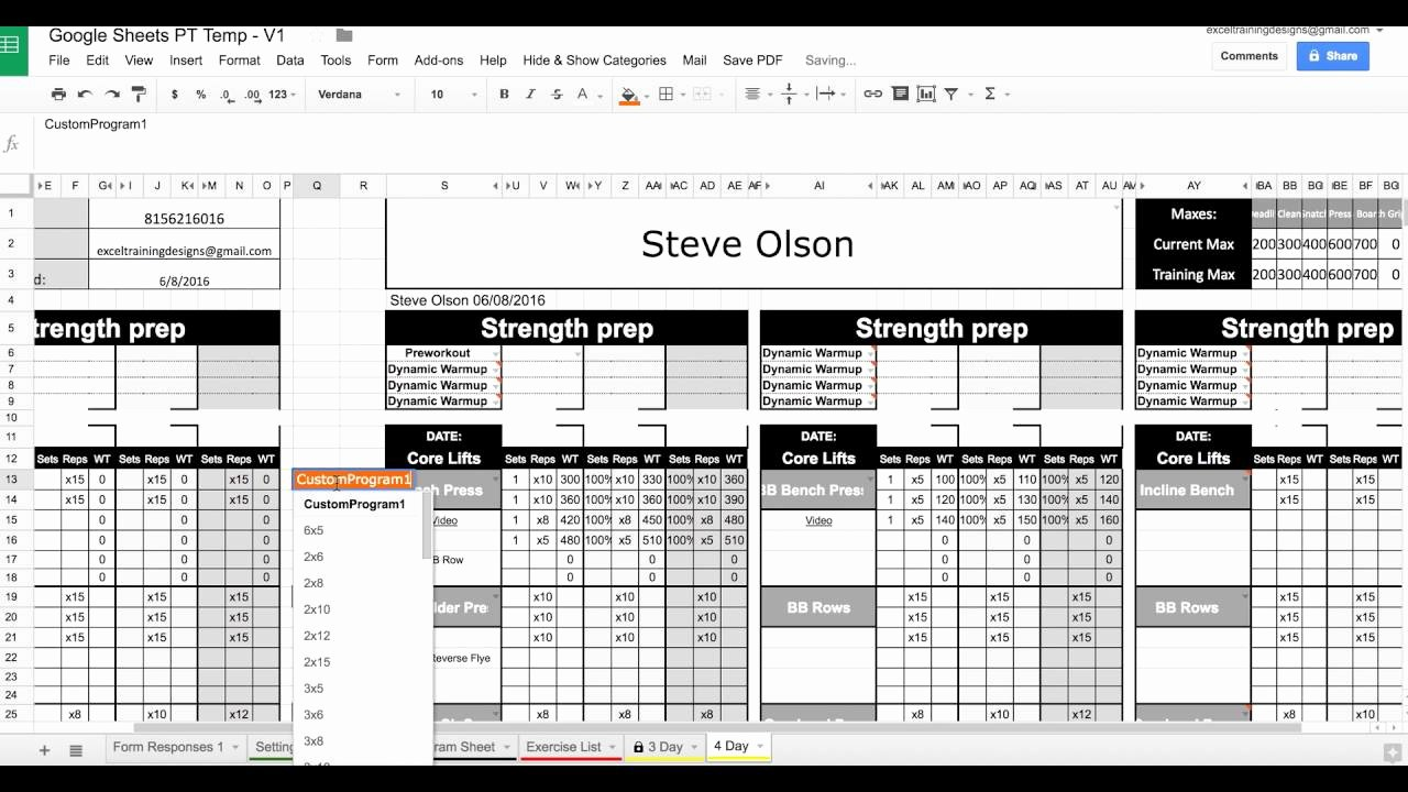 Personal Trainer Workout Template New 1 Save to Pdf with Google Sheets Personal Training