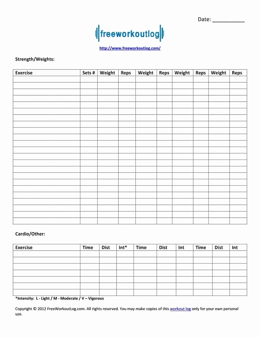 Personal Trainer Workout Template Unique 40 Effective Workout Log & Calendar Templates Template Lab
