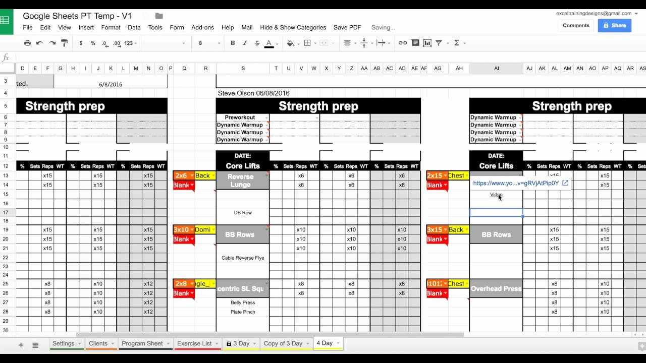 Personal Training Program Template New Setting Up Your Google Sheets Personal Training Template