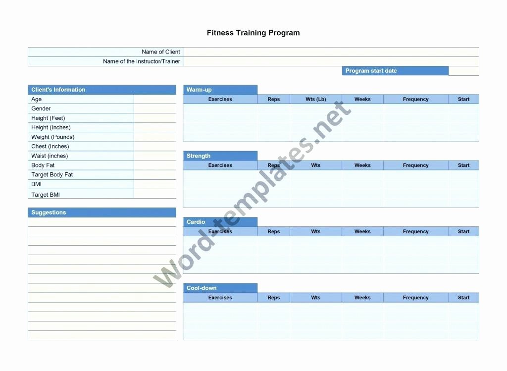Personal Training Program Template Unique Exercise Schedule Planner Fitness Program Template Pdf