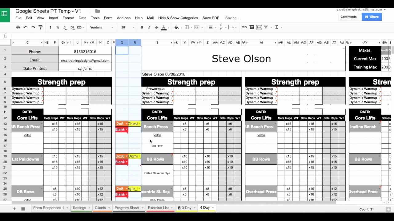 Personal Training Program Template Unique Google Sheets Personal Training Templates Exercise