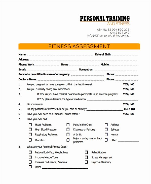 Personal Training Programme Template Lovely 47 assessment form Examples