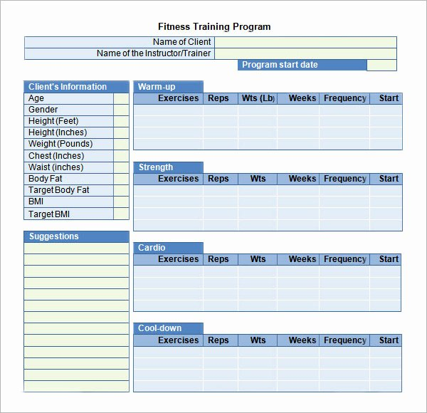 Personal Training Programme Template Unique Training Plan Template 19 Download Free Documents In