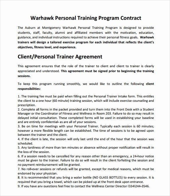 Personal Training Programme Template Unique Weight Loss Programme Pdf