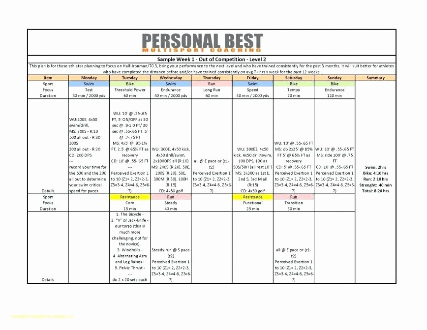 Personal Training Programme Template Unique Workout Calendar Excel A Training Proposal Templates