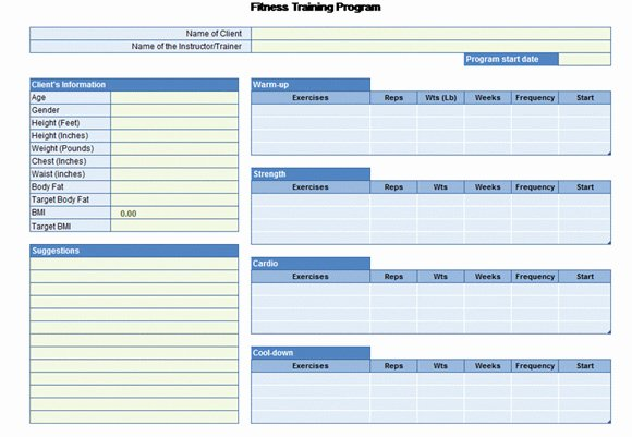 Personal Training Programs Template Luxury Workout Chart for Excel