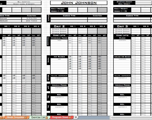 Personal Training Workout Template Awesome Personal Trainer Workout Template
