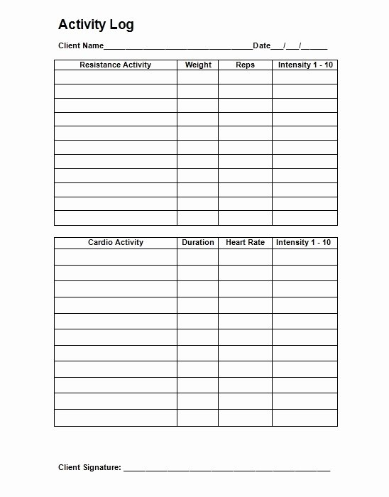 Personal Training Workout Template Awesome Personal Workout Log Template