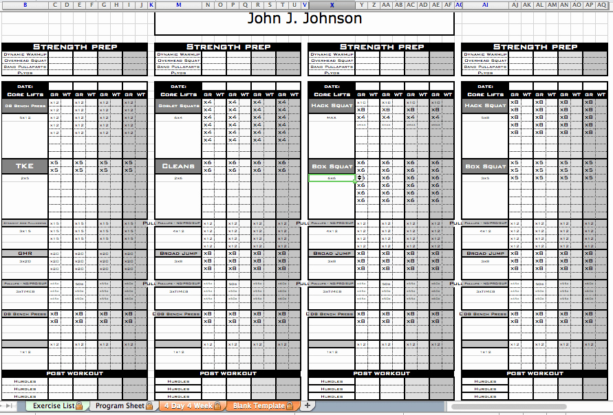 Personal Training Workout Template Fresh Excel Personal Training Templates Excel Training Designs