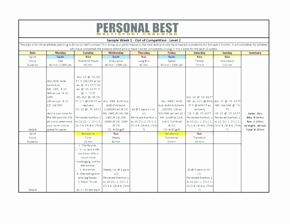 Personal Training Workout Template Unique Personal Trainer Fitness Plan Template