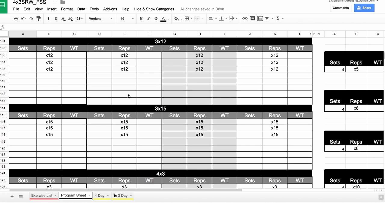 Personal Training Workout Template Unique Personal Training Spreadsheet In Google Drive