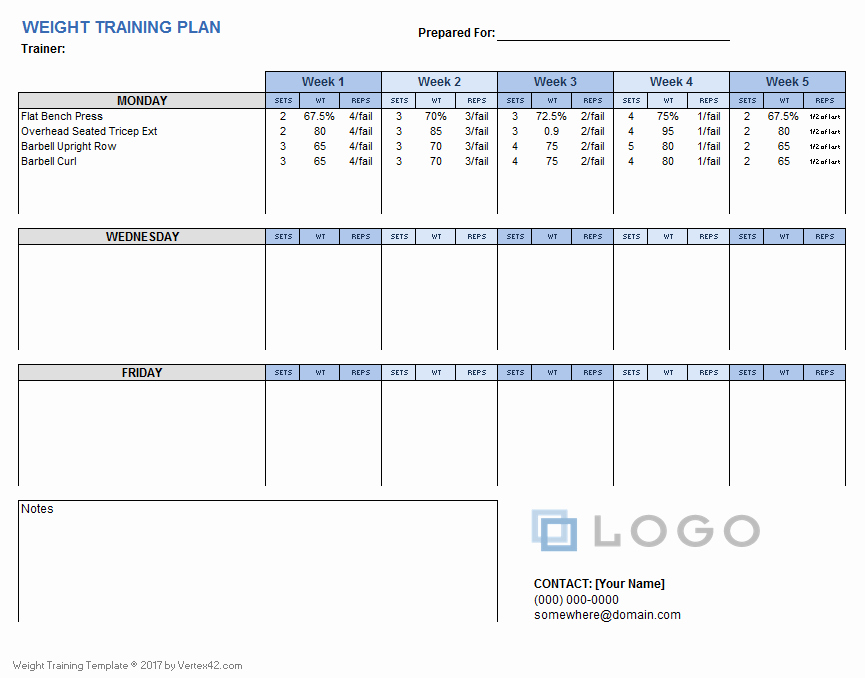 Personal Training Workout Template Unique Weight Training Plan Template for Excel