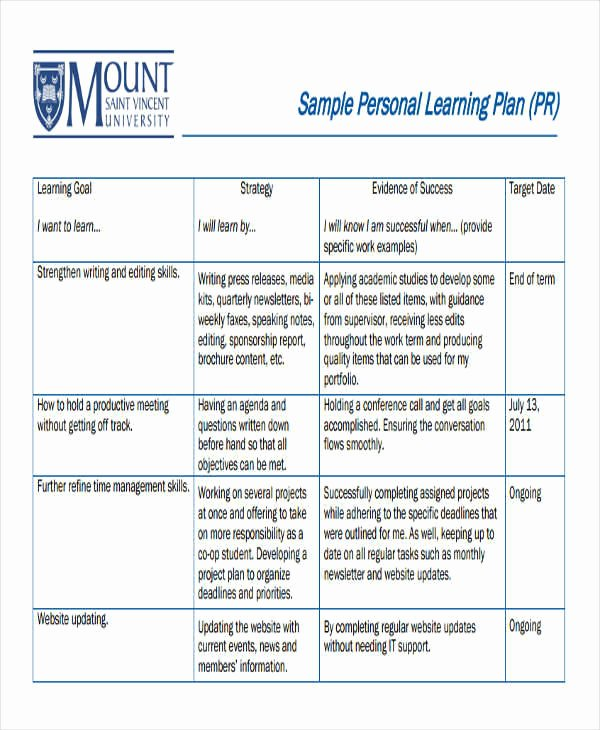 Personalized Learning Plan Template Beautiful 8 Personal Plan Samples & Templates