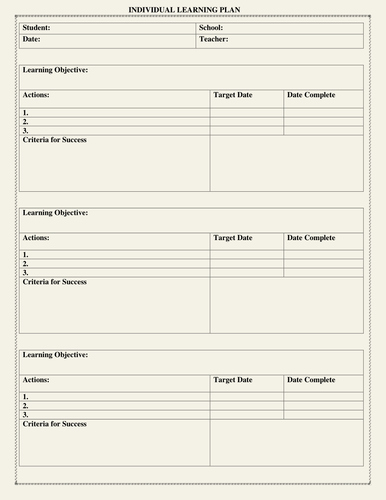 Personalized Learning Plan Template Fresh Individual Learning Plan Template by Moedonnelly