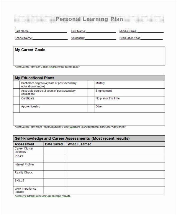 Personalized Learning Plan Template New 9 Learning Plan Examples Samples