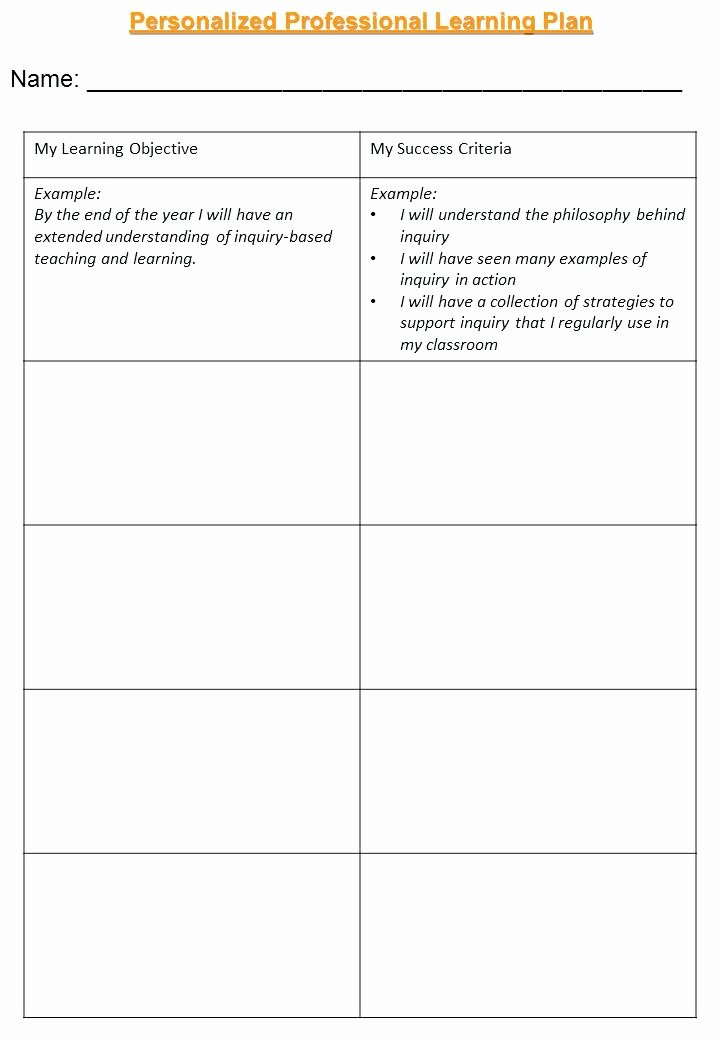 Personalized Learning Plan Template Unique School Professional Development Plan Template Example for