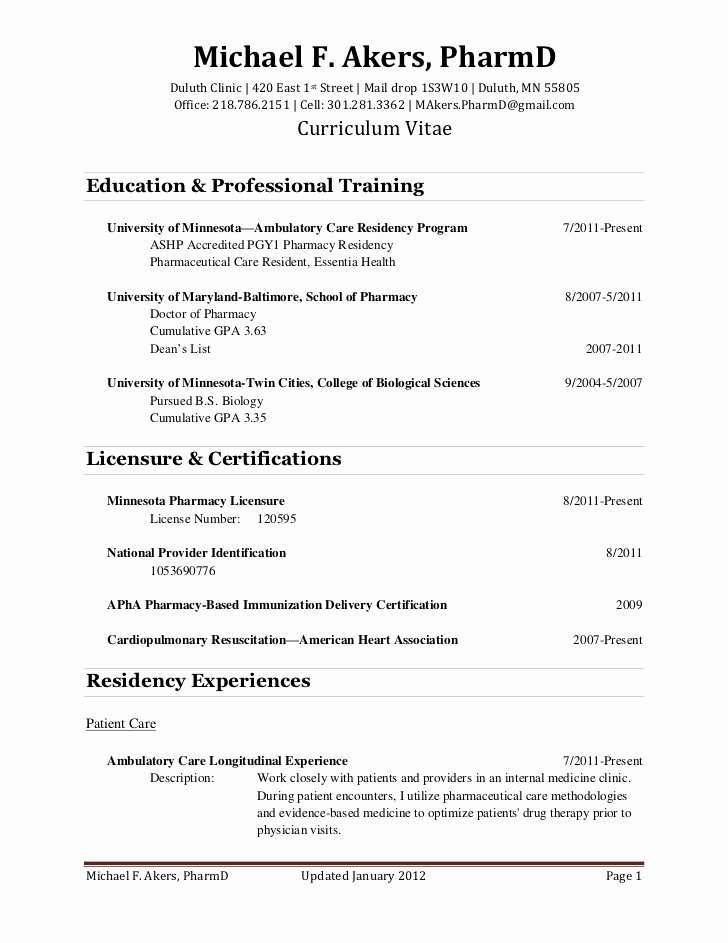 Pharmacist Curriculum Vitae Template Awesome Cv