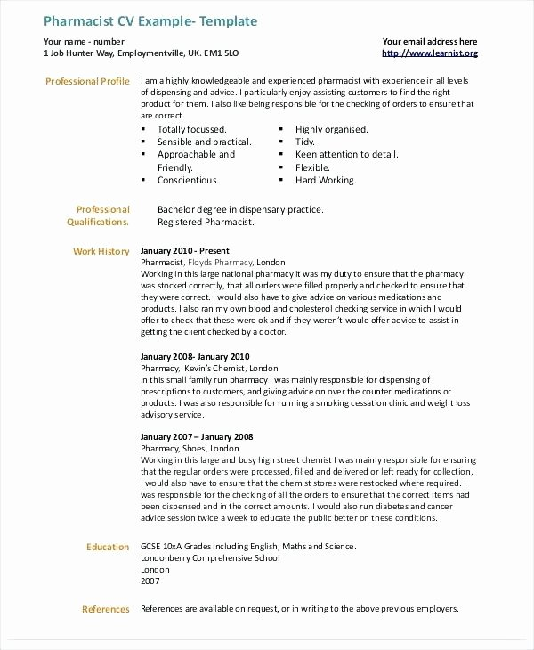 Pharmacist Curriculum Vitae Template Awesome Pharmacist Cv Sample Uk – Cr Design