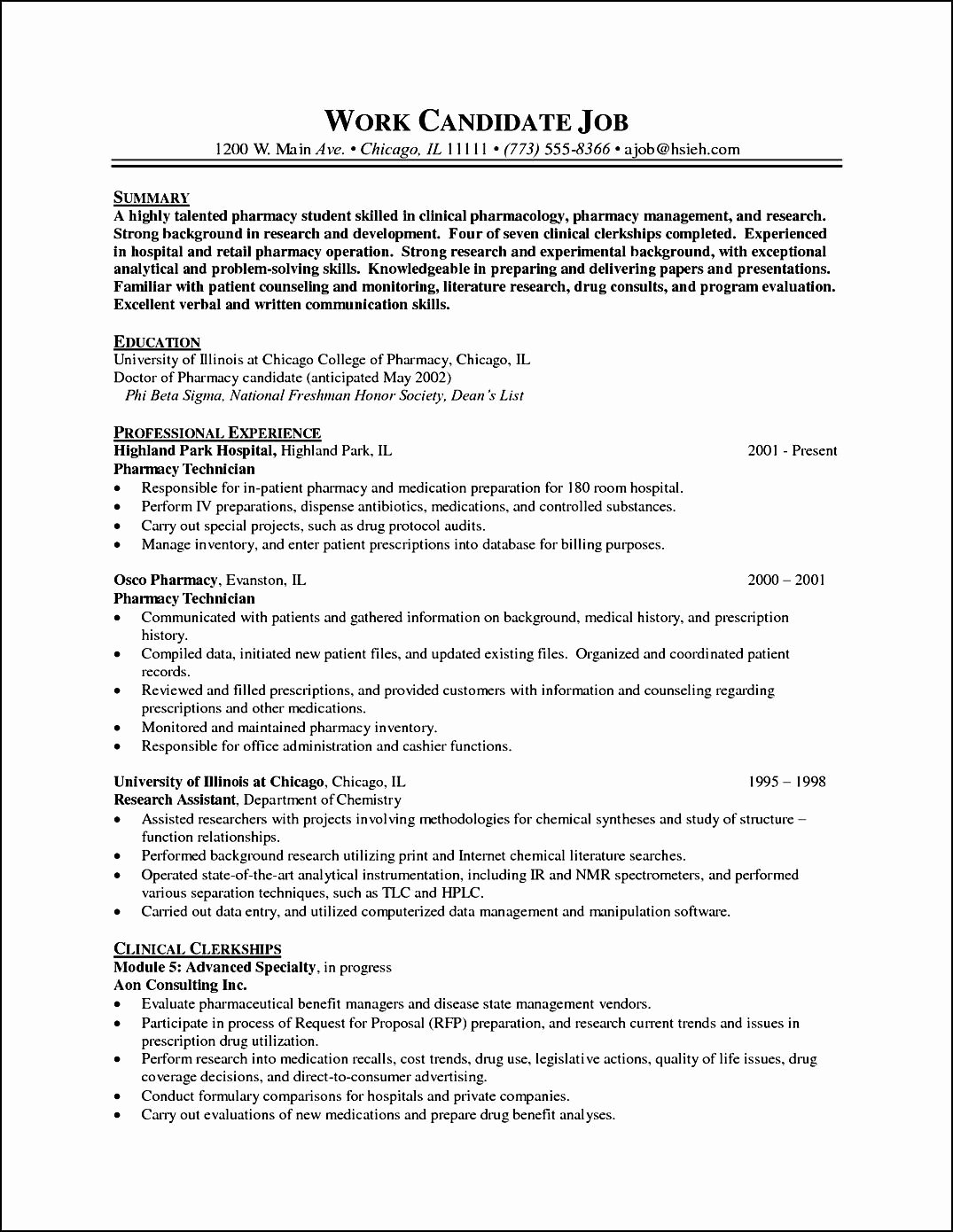 Pharmacist Curriculum Vitae Template Best Of Pharmacy Curriculum Vitae Example Free Samples