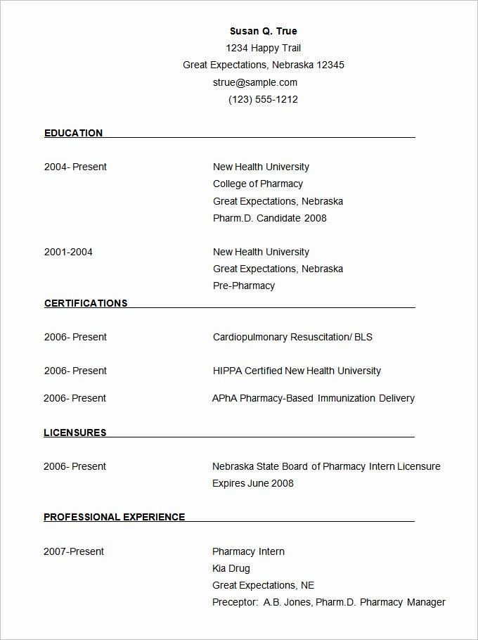 Pharmacist Curriculum Vitae Template Elegant 68 Cv Templates Pdf Doc Psd Ai