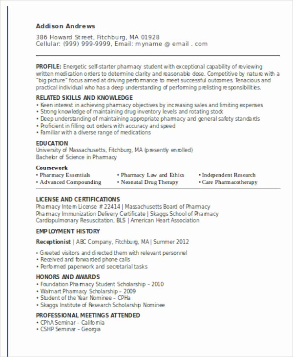 Pharmacist Curriculum Vitae Template Fresh 10 Sample Internship Curriculum Vitae Templates Pdf