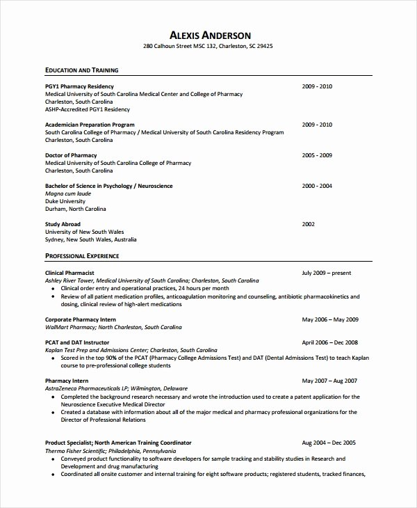 Pharmacist Curriculum Vitae Template Fresh Pharmacist Resume Template 6 Free Word Pdf Document