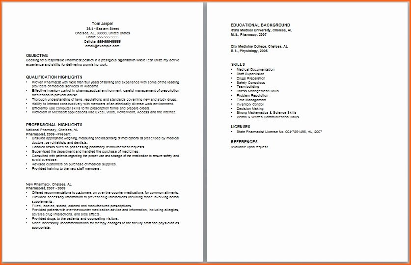 Pharmacist Curriculum Vitae Template Fresh Pharmacy School Resume Best Resume Collection