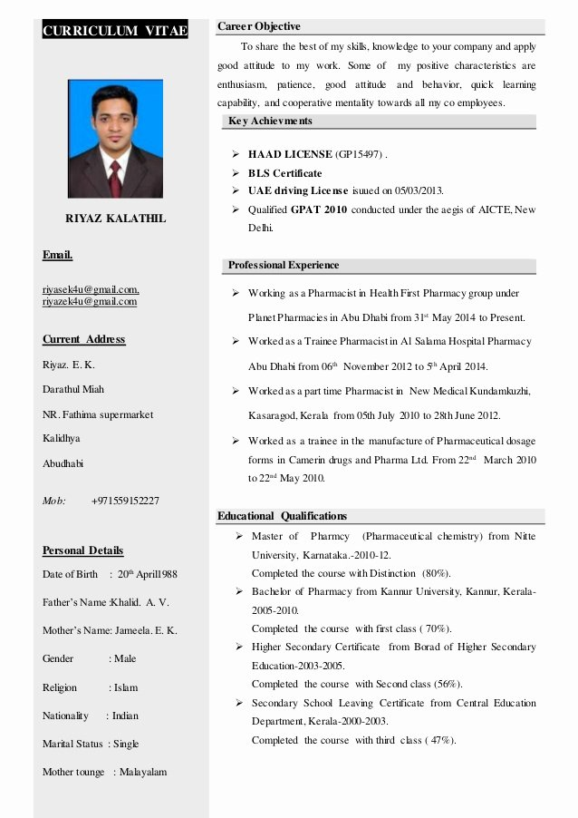 Pharmacist Curriculum Vitae Template Fresh Riyaz Kalathil Haad Pharmacist Cv