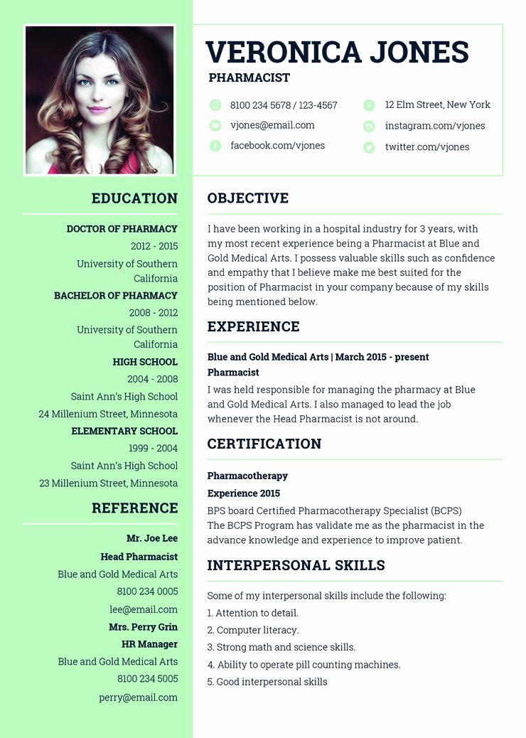 Pharmacist Curriculum Vitae Template Inspirational Free Basic Pharmacist Resume Cv Template In Shop Psd