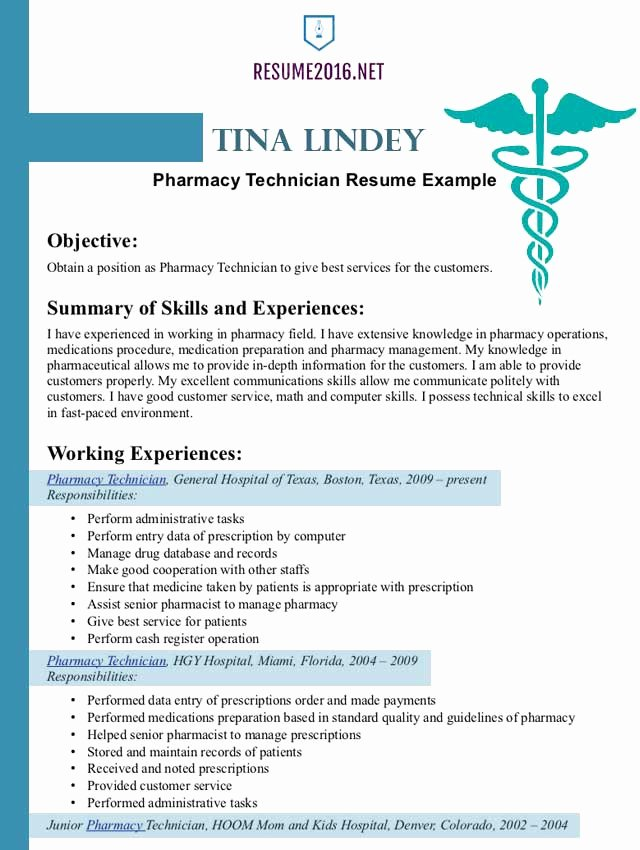 Pharmacist Curriculum Vitae Template Unique Pharmacist Resume Example 2016