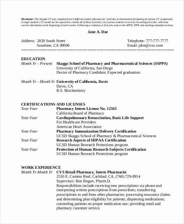 Pharmacy Curriculum Vitae Template Beautiful Pharmacy Cv Examples 9 Pharmacist Curriculum Vitae