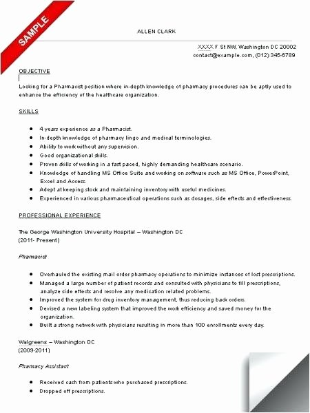 Pharmacy Curriculum Vitae Template Beautiful Tech Resume Examples Pharmacy Template Pharmacist Sample
