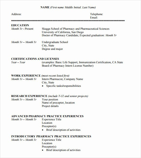 Pharmacy Curriculum Vitae Template Best Of 10 Student Cv Templates Download for Free