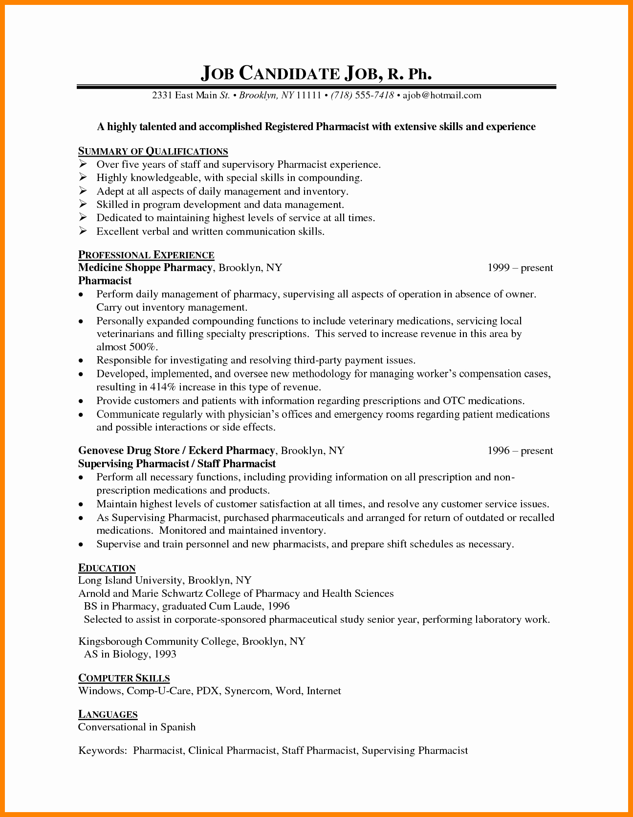 Pharmacy Curriculum Vitae Template Best Of 8 Cv Sample for Pharmacist