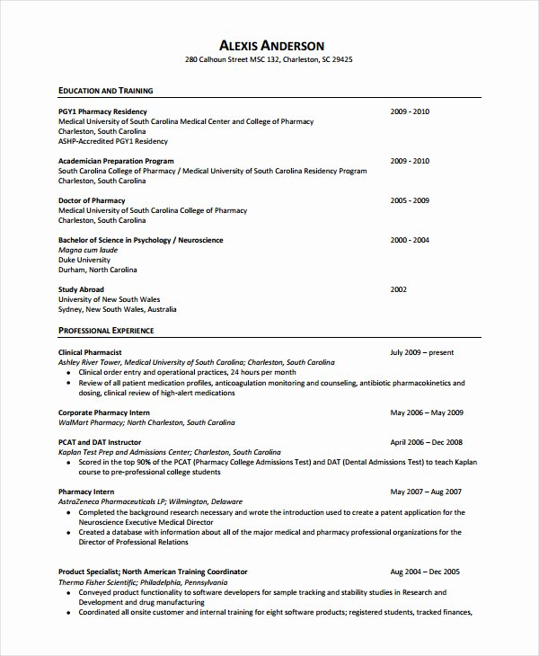 Pharmacy Curriculum Vitae Template Fresh Pharmacy Resume Templates